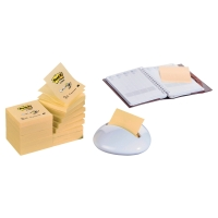 Dispensador blanco Karim + Pack de 16 blocks Post-it Z-Notas amarillo