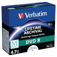 Verbatim M-Disc DVD-R jewel case 4,7 GB 120 mn - pak van 5