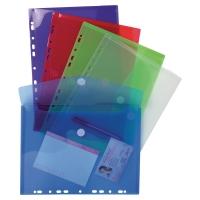 Exacompta geperforeerde enveloppen PP A4 transparant assorti kleuren - pak van 5