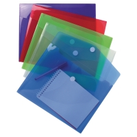 Pack 5 sobres A4 polipropileno cierre textil colores surtidos EXACOMPTA