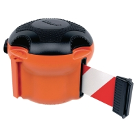 Enrouleur en orange Skipper™ XS avec sangle en rouge/blanc