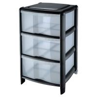 Plastový úložný box CEP, 3- zásuvkový, farba čierna/priesvitná