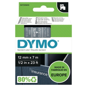 Dymo 45020 ruban D1 12mm blanc/transparent