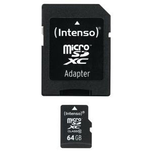 INTENSO Micro SD Speicherkarte, Kapazität 64 GB mit Adapter