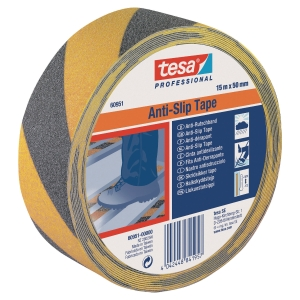 Tesa 60951 signalisatie antisliptape, zwart/geel, per rol tape