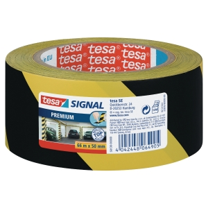 tesa® 58130 signal premium tape yellow/black, 50 mm x 66 m