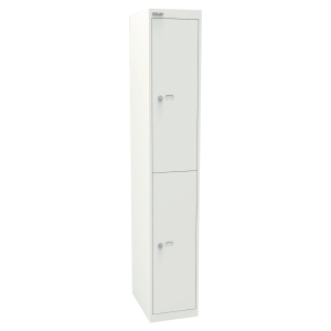 Bisley office locker with 2 compartments white