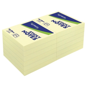 BLOC NOTES REPOSITONNABLES LYRECO 100 FEUILLES 76X76MM JAUNE
