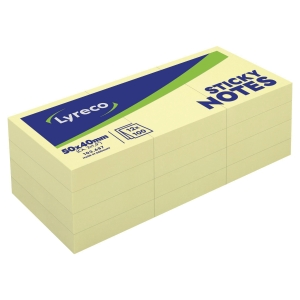 Lyreco plain yellow sticky notes 51 x 38 mm - pack of 12 pads