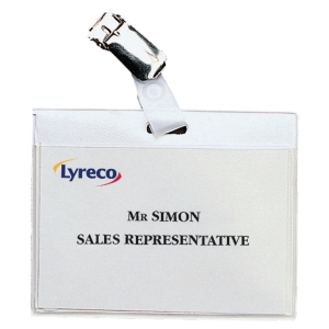 Lyreco Budget Clip Badges 60X90mm - Landscape - Box of 30