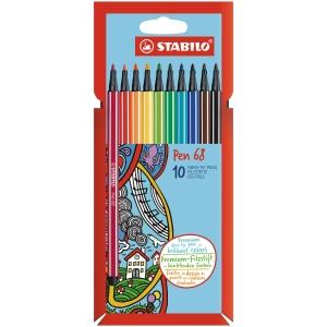 Linery Stabilo 68, mix farieb, 1 mm, balenie 10 farieb