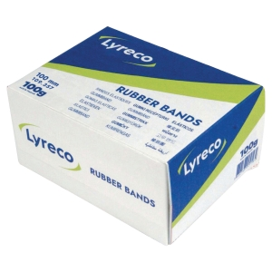 LYRECO RUBBER BANDS ASSORTED 100MM 100G BOX