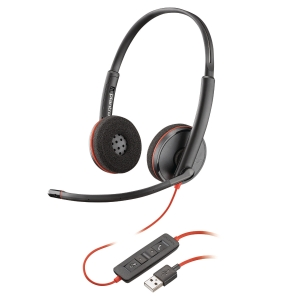Auricular con cable biaural serie Blackwire 3200 con USB-A para PC