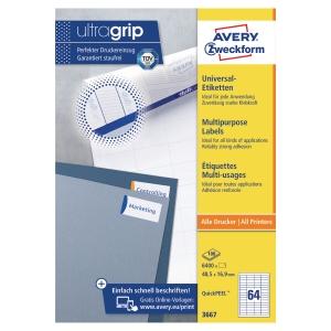 Etiketten Avery Zweckform 3667, 48,5 x 16,9 mm, Packung à 6400 Stück
