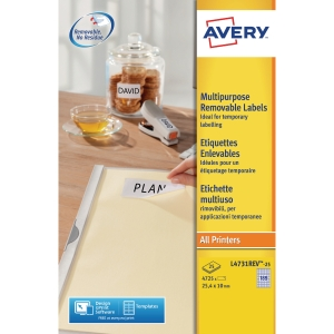 Boite 4725 étiquettes multiusages enlevables Avery 25,4x10mm  blanches l4731