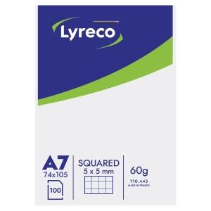 Lyreco Notizblock A7 kariert 5 x 5 mm, 100 Blatt