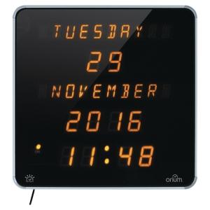 UR Orium digital LED med kalender sort og gul