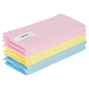 Lyreco Pro Microfibre Cloths 400x400mm Asst - Pack Of 6