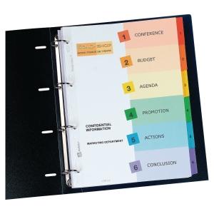 Índice numérico 1-6 imprimivel A4 papel Mylar 190 g/m2 AVERY