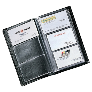 Black Soft Cover PVC Business Card File 120 Card Capacity