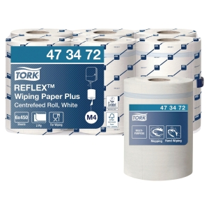 Tork Reflex M4 White Centrefeed 2 Ply Wiping Paper Roll 150M - Pack of 6