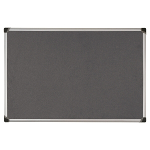 Aluminium Framed Fabric Notice Board 900mm X 1200mm - Grey