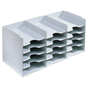 Paperflow stackable horizontal organiser 15 compartments grey