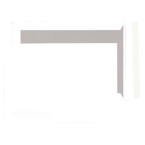 Pochettes dos carton 240x340mm bande siliconée 120g blanches - boite de 100