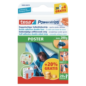 POWERSTRIPS TESA POSTER PAKKE A 20 STRIPS