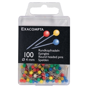 Exacompta Map Pins, 4mm Round, 15mm Height - Assorted Colours, Pack of 100