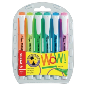 HIGHLIGHTER STABILO SWING COOL ASSORTEREDE  FARVER ETUI A 6 STK.