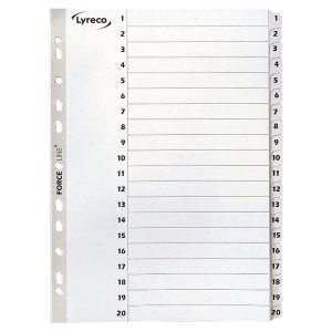 LYRECO MYLAR WHITE A4 1-20 INDEXES