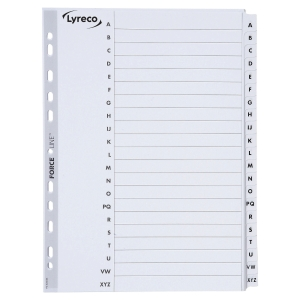 LYRECO MYLAR WHITE A4 20 PART A-Z INDEXES