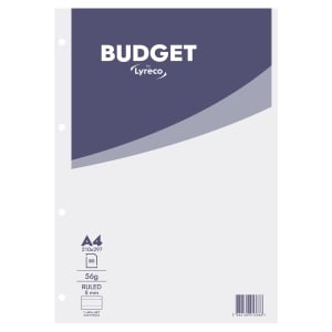LYRECO BUDGET WHITE A4 NOTEPADS (RULED) - PACK OF 5 (5 X 80 SHEETS)