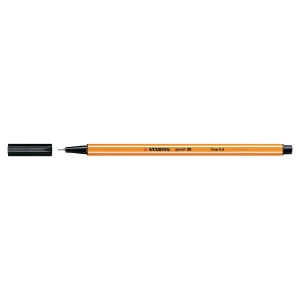 Stabilo Point 88 Fineliner Black Pens 0.4mm Line Width - Box Of 10