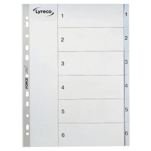 LYRECO PLASTIC DIVIDER INDEX 1-6 A4 GREY