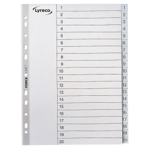 LYRECO PLASTIC DIVIDER INDEX 1-20 - GREY