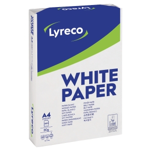 Lyreco white paper A4 80g - 1 box = 5 reams of 500 sheets