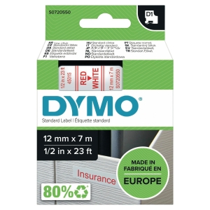 DYMO D1 LABELLING TAPE 12MMX7M RED ON WHITE - EACH