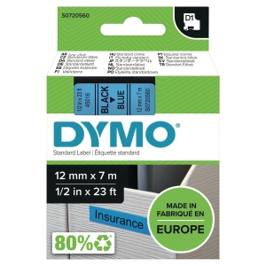 DYMO D1 LABELLING TAPE 12MMX7M BLACK ON BLUE - EACH