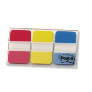 Lot de 3 paquets de 22 marque-pages Post-it onglets rigides rouge/jaune/bleu