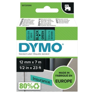 Taśma DYMO® do drukowania etykiet 12 mm, kolor druku/tła: czarny/zielony