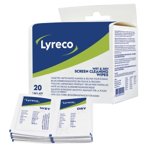 Lyreco wet/dry multi-purpose wipes tube for cleaning screens - pack of 2x20