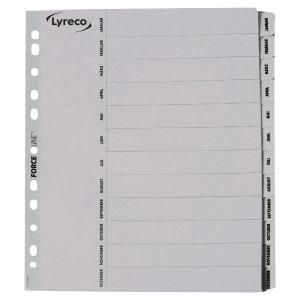 Register Lyreco Jan-Dez, A4, aus Karton, 12 Blatt, weiß