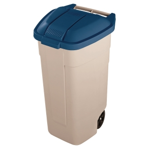 Contenedor para reciclaje RUBBERMAID 100 litros en color beige