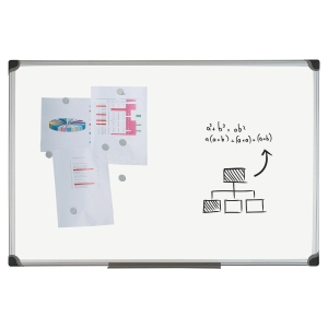 TABLEAU BLANC EMAILLE MAGNETIQUE BI-OFFICE 120 X 90 CM