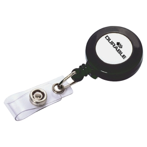Durable Badge Reel Charcoal With Clip And Retractable Cord - Pack of 10