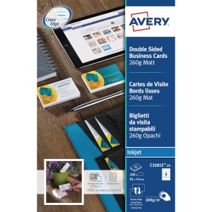 AVERY C32015-25 QUICK & CLEAN INKJET/MATT FINISH BUSINESS CARDS - PACK OF 25