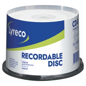 CD-R Lyreco 700MB/80 min multispeed pk50