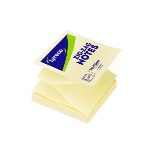 BLOC NOTES ZIGZAG LYRECO 100 FEUILLES 76X76MM JAUNE